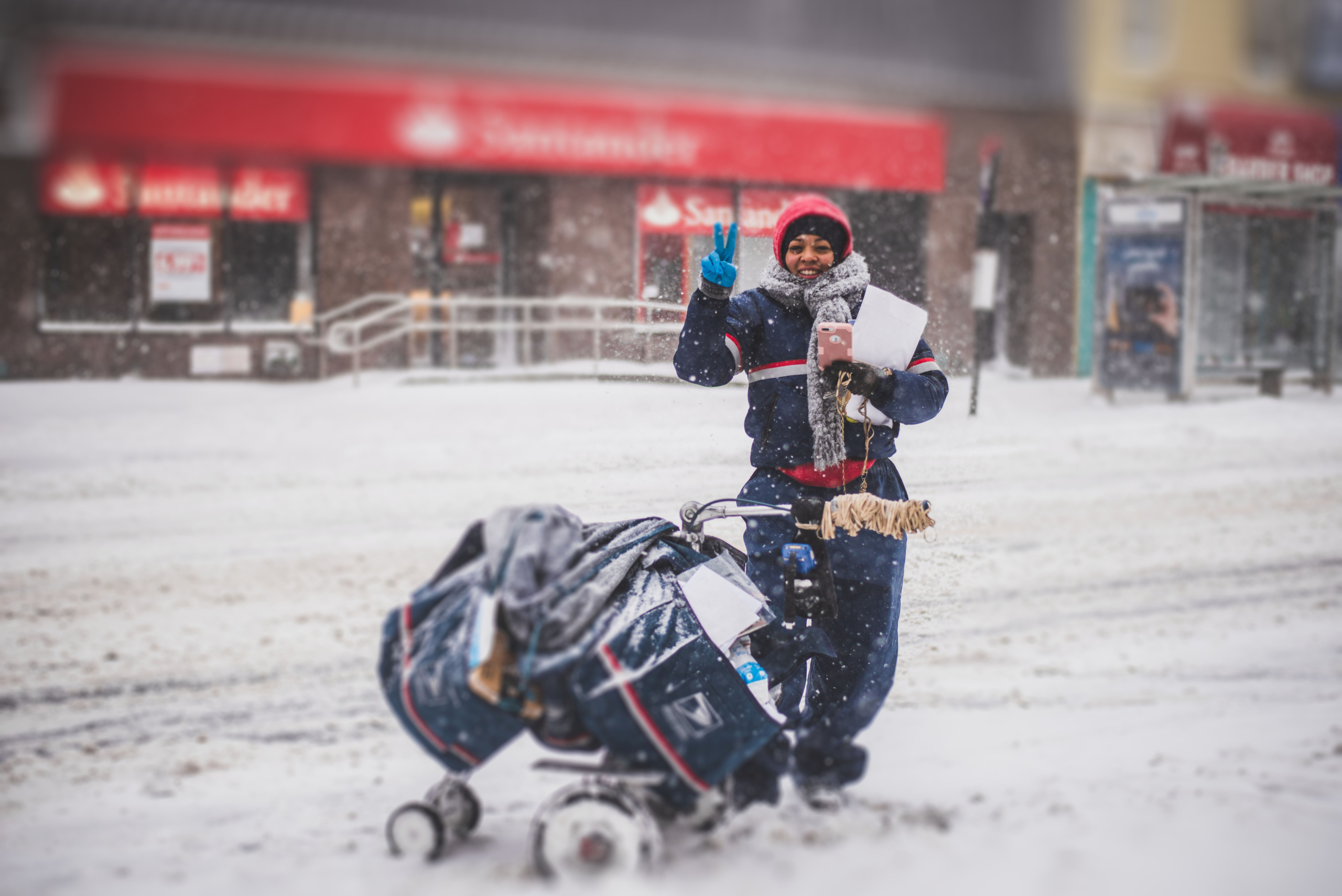 Delivery woman in snow